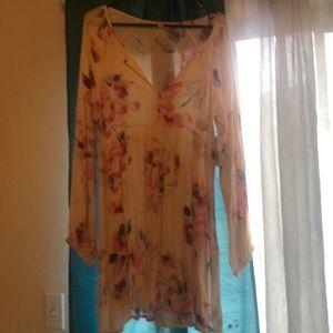 Floral pinkish long sleeve mini dress size large
